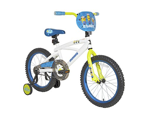 Minions 18u0022 Kids Bike with Training Wheels - White/Blue