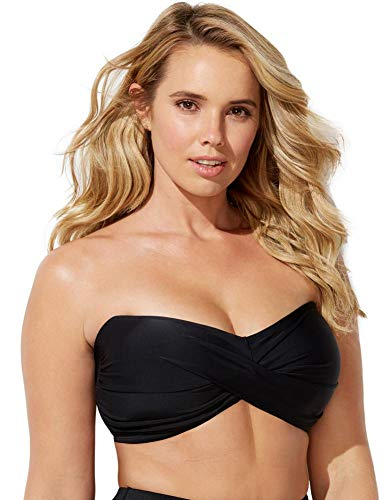 SWIMSUITSFORALL Swimsuits for All Women's Plus Size Ruched Bandeau Bikini Top 16 Black