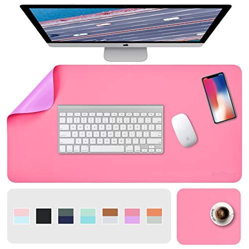 Schreibtischunterlage, Mousepad,Mauspad 2 Pack 80 x 40cm +20 x 28 cm , Schreibtischunterlage Leder, Bürotisch Unterlage, Laptop Unterlage Kinder, XXL Gaming Schreibtischunterlage Purple/Red PU Office