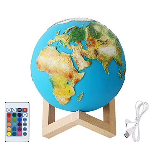 Qweidown Earth Light,Earth Print Light,LED-Nacht licht 3D-gedrucktes Earth PaintedLamp DimmableTouch Control-HelligkeitslichtmitUSB-AufladungfürWohnzimmerdekoration,Weihnachtsgeschenke Holzhalter15cm