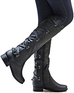 Reislaarzen Vrouwen, Dames Strappy Lederen Motorfiets Mid-Calf Hoge Laarzen Winter Lace-up Rijdende Flat Low Heel Schoenen...