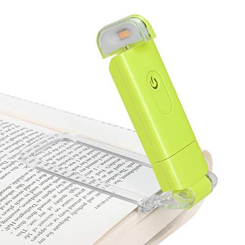 DEWENWILS Lámpara de lectura con pinza para libro, recargable, color ámbar, para leer en la cama, 4 niveles de brillo ajustables, bloqueo de luz azul, regalo para niños y lombrices