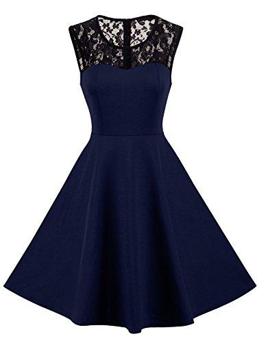 HOMEYEE Damen Elegant Spitze Rundhalsausschnitt Ärmel Mesh-A-Linie Kleid UKA008 (EU 36 (Herstellergroesse: S), Dunkelblau)