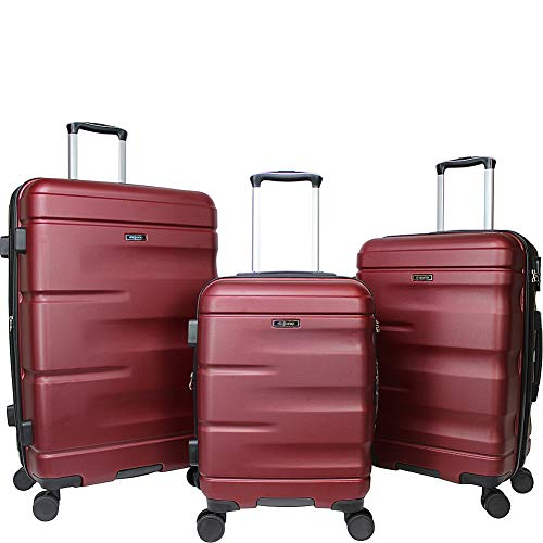 Dejuno Emerson 3-piece Hardside Expandable Spinner Luggage Set, Burgundy