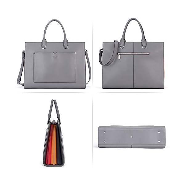 CLUCI Briefcase for Women Stylish Genuine Leather 15.6 Inch Laptop Large Pocket Work Ladies Shoulder Bag