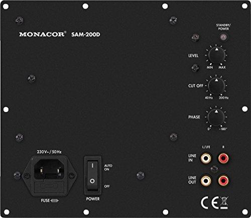 MONACOR SAM-200D Subwoofer Aktiv-Modul mit 200 W, variablem Tiefpass, Tieftöner mit stufenlos regelbarem Phasenschieber, integrierter Bassanhebung und hohen Leistungsreserven, in Schwarz