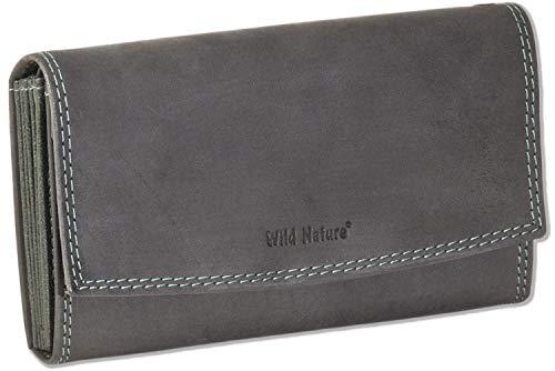 LM-International Europa GmbH Wild Nature® Profi Kellnerbörse mit Doppel-Druckknopfverschluss aus naturbelassenem Büffelleder in Anthrazit