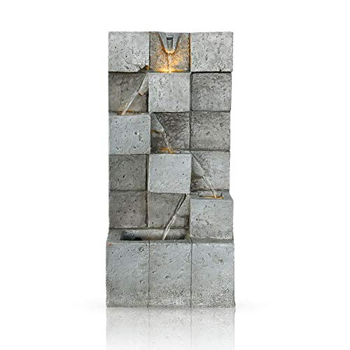 Petra Concrete Wall Fountain with LED Lights, for The Garden, Patio, Deck, Backyard, and Home, Soothing and Relaxing Waterfall Fountain