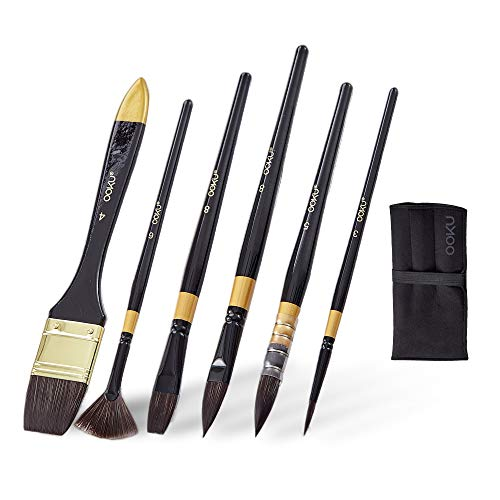 OOKU 7 Pc Paint Brush Set Include Flat/Round/Fan Brush, Liner | Professional Watercolor Brushes for Acrylic, Oil, Watercolor and Gouache Painting | Artist Paint Brushes for Canvas, Art, Craft Paint
