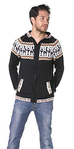 Schwarzen Alpaka-Pullover mit Reißverschluss und Kapuze - Andean S Schwarz