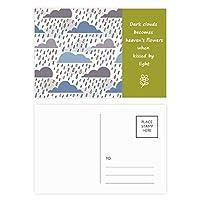 雲は雨の天気ドリップパターン 詩のポストカードセットサンクスカード郵送側20個