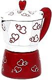 ZHZHUANG Cafetera de café de aluminio con estampado de corazón rojo, 300 ml