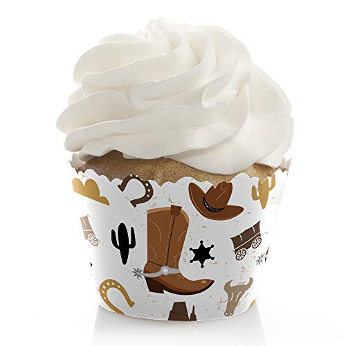 Big Dot of Happiness Western Hoedown - Wild West Cowboy Party Decorations - Party Cupcake Wrappers - Set of 12