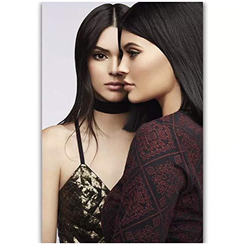 Lefgnmyi Kendall & Kylie Jenner USA Beauty Art Poster Decoración de pared Carteles artísticos de pared Impresión de pintura Sala de estar Decoración del hogar-20x28 IN Sin marco