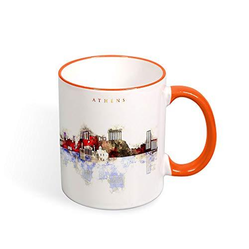 Taza de café con diseño de la ciudad de Atenas y Grecia, taza para el hogar, taza de té, recuerdo, cumpleaños, Navidad, aniversario, regalo, taza para viajero, 325 ml naranja