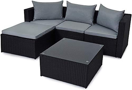 Salon de jardin patio, canapé Table de jardin en rotin,Black