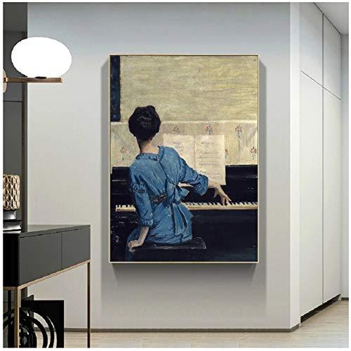 Vintage Play Piano Girls Poster Figura Lienzo Pintura POP Arte de la pared Imágenes en lienzo para la sala de estar Galería Decoración del hogar 70x100cm (28x40in)