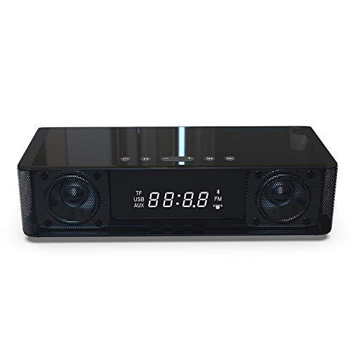 SHBV Reloj de cabecera Digital Radio FM Despertadores con Altavoz Bluetooth Radio FM Pantalla de Reloj LED Altavoz Bluetooth y NFC Cargador USB/Carga inalámbrica