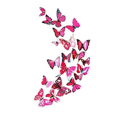 Fine 24 PCS 3D Butterfly Wall Stickers, Crafts Butterflies DIY Art Decor Home Room Decorations, Removable DIY Home Decorations (Hot Pink)