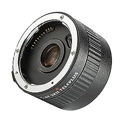 VILTROX C-AF 2X II Teleplus 2X Telekonverter Autofokus 2.0X Telekonverter schwarz, Objektiv Extender Konverter für Canon EF Mount Super Tele-Objektive