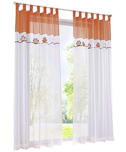 BAILEY JO 1PC Gardine mit Eule Stickerei Vorhange für Kinderzimmer Transparent Voile Vorhang (BxH 140x225cm, orange mit schlaufen)