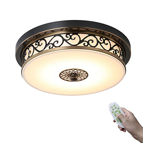 Retro Lámpara de techo LED Regulable Lámpara de dormitorio, con mando a distancia Redondo Plafón 36W Metal Vaso Pantalla de lámpara, por Sala de estudio Comedor Cocina Iluminación Ø50cm