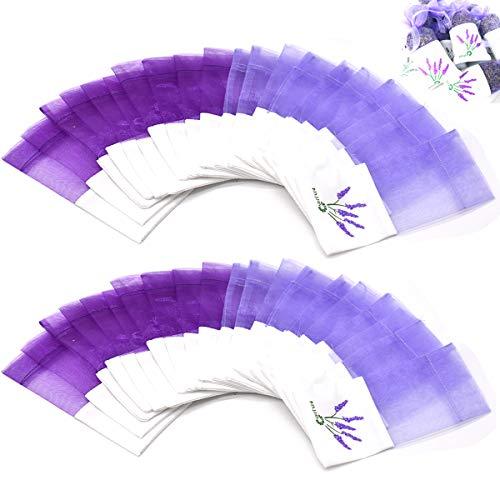 Jicyor 40pcs Bolsitas de Llavanda Vacías con Cordón y Estampado de Flores Bolsa de Perfume Púrpura Secas Pequeñas Bolsas de Algodón Lavanda de Gasa de Organza para Cajones y Armarios