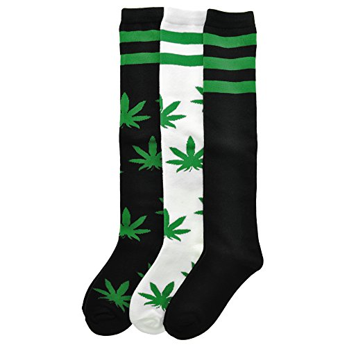 Angelina 3-Pack Adult Knee-length Novelty Leaf Socks, 2548_3_9-11