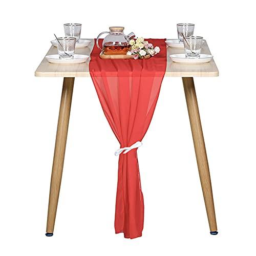 Wangle Romántico camino de mesa de gasa para decoración de mesa de recepción de boda, elegante mantel decorativo para recepción y cualquier fiesta, 1 unidad, 70 x 300 cm, rojo