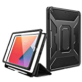 MoKo Case Fit New iPad 8th Gen 2020 & 7th Gen 2019 / iPad 10.2' Case, [Built-in Screen Protector] Full-Body Protection Shockproof Case Smart Trifold Cover with Auto Sleep/Wake & Pencil Holder - Black