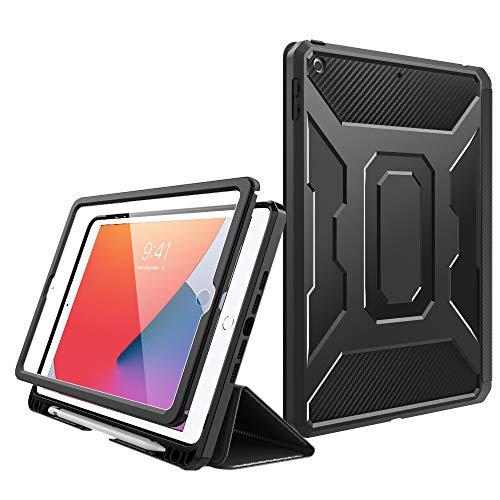 MoKo Custodia per Nuovo 10.2 Pollici iPad 8a Gen 2020 / iPad 7th Gen 10.2' 2019 Case, Case Tablet con Supporto Penna Stylus, Supporto Tablet, Accessori Tablet, Cover per 10.2' Tablet - Nero