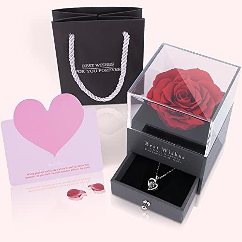 MONODEAL Viennagold - Collana con 100 lingue autentiche rose con fiori veri, in confezione regalo, per San Valentino, festa della mamma, Natale, compleanno, regalo per lei