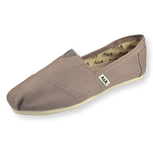 A&A Vegan Gray Slip-on Casual Flats Canvas Shoes Alpargatas for Women & Men (Classics)
