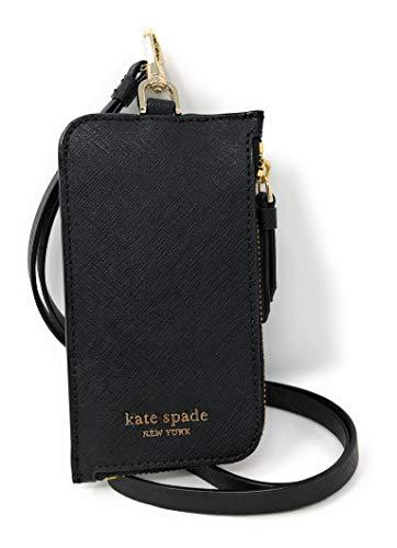 Kate Spade New York L-Zip Saffiano Leather Card Case Lanyard Black, Large
