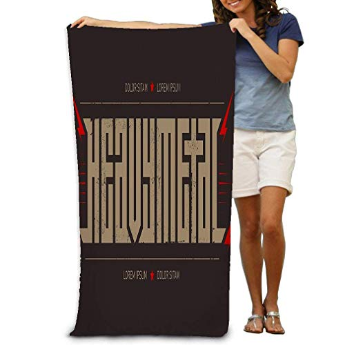 Toalla de baño Soft Big Beach Towel 31 'x 51' inscripción Horizontal Heavy Metal Brutal Font Etiquetas