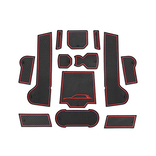 CDEFG para T-ROC 2020 2019 Coche Accesorios Antideslizante Copa Mats Anti Slip Puerta Ranura de Acceso Kit de la Estera del cojín de la Ranura decoración de Interiores (Rojo)