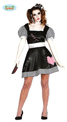 Halloween Kostüm Tote Puppe für Damen Puppenkostüm Damenkostüm Halloweenkostüm Doll Gr. M-L, Größe:M