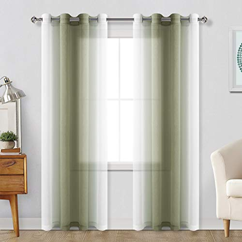 Hiasan Ombre Sheer Curtains for Living Room - Faux Linen Voile Grommet Window Curtains for Bedroom, Set of 2 Panels, 52 x 84 Inches Long, Olive Green Gradient