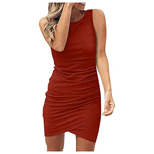 URIBAKY - Vestido sin mangas a la moda para mujer, delgado, holgado, elegante, de manga corta vino. M