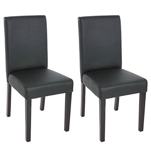 Mendler 2X Esszimmerstuhl Stuhl Küchenstuhl Littau ~ Kunstleder, schwarz matt, dunkle Beine