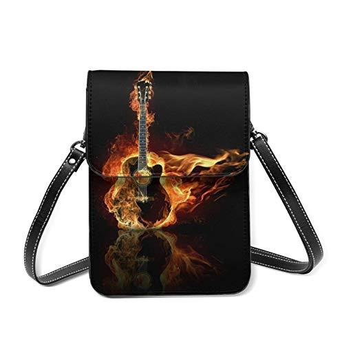 Teléfono celular Montar Música Multifuncional Guitarra Fuego Llevar Caso Bolsa Correa De Hombro Extraíble, Paquete De Seguridad Pulsera Cruz Cuerpo Bolsa