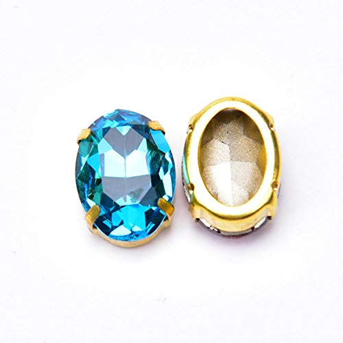 PENVEAT 30pcs K9 Strass Mischkristall 13 * 18mm Oval mit Goldkralle Nähen Rahmen Brautkleid Dekoration Strass Knopf DIY, Aquamarin
