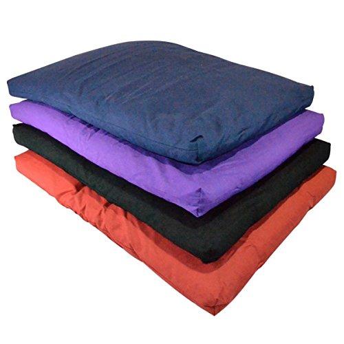 YogaAccessories Cotton Zabuton Meditation Cushion - Blue