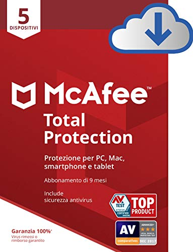 Mcafee Total Protection 2020 , 5 Dispositivi, 9 Mesi, Multi-Dispositivo Compatibile con PC/Mac/Smartphone/Tablet, Codice D'Attivazione Via Email