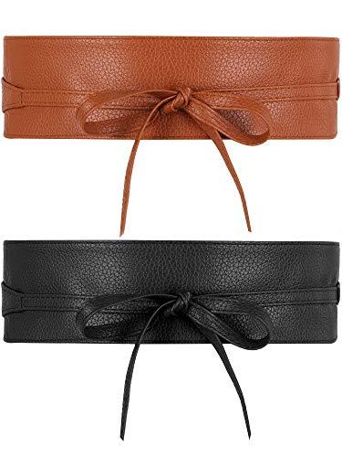 Blulu 2 Pezzi Cintura Obi da Donna Cintura Obi in Pelle per Donne Ragazze Accessori (Nero, cammello)