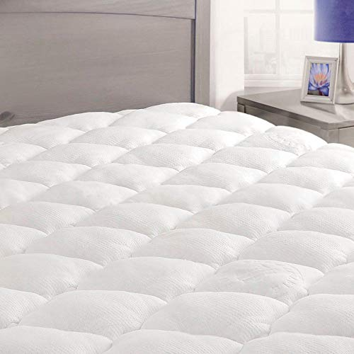 ExceptionalSheets King Size Mattress Pad with Fitted Skirt - Cooling Mattress Pad with Extra Plush Rayon from Bamboo Topper - Hypoallergenic Bamboo Mattress Pad - Made in The USA, King