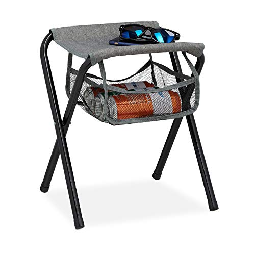 Relaxdays Campinghocker mit Tasche, faltbar, ohne Lehne, Camping, Garten, tragbarer Sitzhocker, HBT 40x35x30 cm, grau