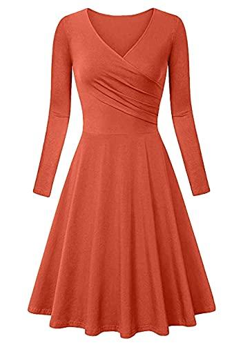 Sweetop Vestido de verano para mujer, informal, elegante, para verano, de manga larga, cuello en V, línea Midi Swing NARANJA XS