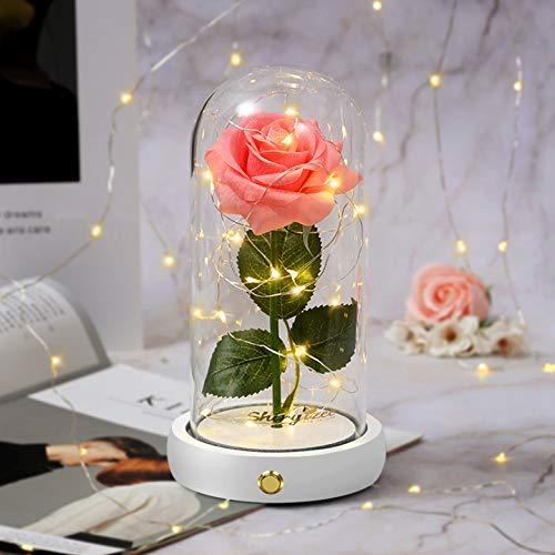 shirylzee Rosa Eterna Kit,La Bella e La Bestia Rose Cupola di Vetro con Base Pino Luci LED Lampada Magici Decorazioni per Compleanno Natale Anniversario di Matrimonio Festa della (Rosa)