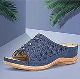 MMWW Unisex Adulto Zapatillas de baño,Sandalias Casuales de Gran tamaño, Zapatillas de Mujer con cuñas de Diamantes de imitación-Azul_42,Zapatillas cómodas portátiles